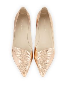 Bibi+Butterfly+Embroidered+Flat,+Gold+by+Sophia+Webster+at+Neiman+Marcus.