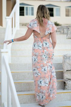 Vacation style by Emillion Thoughts // maxi dress, floral maxi dress, printed dresses for vacation, dresses easy for travel, Tory Burch Miller sandals, BaubleBar earrings, casual formal wear for the beach, fashion union dress, cut out back, pastel floral dress, ruffle sleeve maxi, Cancun style, what to pack for a tropical vacation, what to pack for a beach getaway, traveling in the winter essentials, dresses that don't wrinkle