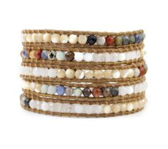 Chan Luu Mixed Stones & Silver Multi Wrap Bracelet BS2259