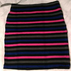Forever 21 bodycon skirt Cute grey/black/pink/purple striped bodycon skirt! Perfect condition, used just once! Forever 21 Skirts Mini