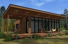 Nadire Atas on Chalets Mini-Maison Modern Wooden House, Wooden House Design, Wooden House Plans, Eco Casas, Plan Chalet, Lodge Decor, Prefab Homes, Small House Plans, Architect Design