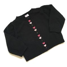 NWT Girls 12-18m Gymboree Black Cardigan Sweater w/ Pink Heart Embroidery  | eBay