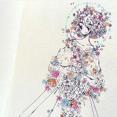 Drees/Flowers » hair flow » art » drawing » inspiration » illustration » artsy » sketch » pinterest » design » expression » faces » character design »