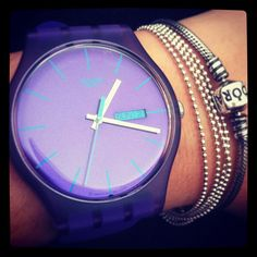 Swatch Watches at fabulous, free UK delivery Ring Watch, Bracelet Watch, Pandora, Cool Watches, Trendy Watches, All Things Purple, Beautiful Watches, Shades Of Purple, Michael Kors Watch