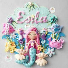 Mermaid and sea animals Felt Kids, Felt Baby, Diy Party Needs, Felt Doll House, Baby Shower Deco, Baby Room Themes, Felt Crafts Diy, Felt Banner, Felt Wreath