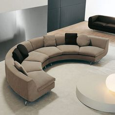 Small Round Sectional Sofa Half Round Curved Modern Brown Color
