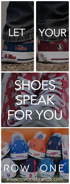 Row One offers a unique line of footwear that allows fans to show their loyalty to their favorite teams and schools.   https://www.rowonebrands.com/?utm_source=Pinterest&utm_medium=4.2P