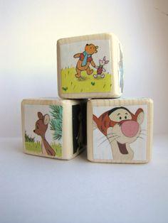 Winnie The Pooh Baby Shower Decoration Wood Baby Blocks by MiaBooo, $12.00