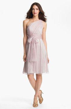 Amsale One Shoulder Belted Silk Chiffon Dress | Nordstrom
