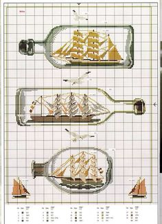 Cross stitch pattern for ships in bottles Cross Stitch Sea, Cross Stitch House, Cross Stitch Needles, Cute Cross Stitch, Cross Stitch Charts, Funny Cross Stitch Patterns, Cross Stitch Designs, Cross Stitching, Cross Stitch Embroidery