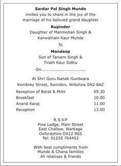 sikh wedding invitation wordings sikh wedding wordings sikh wedding