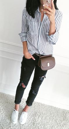 Button down + distressed denim.