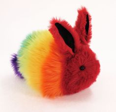 Rainbow Rabbit Stuffed Toy Faux Fur Plushie