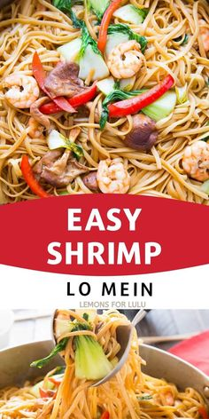 Shrimp Lo Mein is a dish that combines ease and big flavor! Saucy noodles, vegetables, and shrimp make take out a thing of the past! Healthy Salads, Yummy Snacks, Pasta Salad, Shrimp, Sweet Treats, Appetizers, Lunch, Dishes, Vegetables