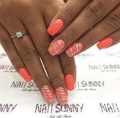 Short Nail Designs, Colorful Nail Designs, Beautiful Nail Designs, Nail Art Designs, Coral Nail Designs, Peach Nail Art, Peach Nails, Orange Nails, Trendy Nails