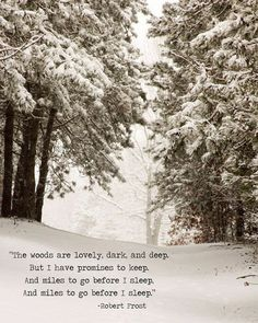 """My favorite poem of all time. Winter Snow Landscape Robert Frost Quote """" Miles to go"""" Quote Wall, Wall Art Quotes, Poetry Quotes, Artwork Quotes, Snow Quotes, Winter Quotes, Quotes About Winter, Quotes About The Woods, Winter Solstice Quotes"""