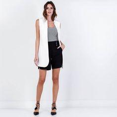Maxi vest, shorts and top. Colete, shorts e regata. Sem mais para um look simples e elegante