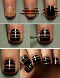 Striped nails - Make sure nails are completely clean. If there's oil or dirt, tape will not stick properly. - Place strips of striping tape across your nail & double up a few to make thicker lines. Make sure tape is stuck all the way to edges. - Paint on your color. Choose one that only needs one coat to be opaque. - While the polish is still wet, peel off tape in one smooth motion. - Wait til completely dry & apply top coat. - Use a small paintbrush dipped in acetone to clean up edges.