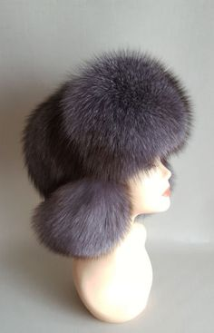 Real-BlueFrost-Fox-full-fur-genuine-Russian-Ushanka-Aviator-Trapper-Winter-Hat