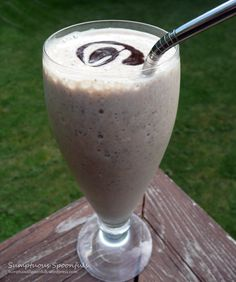 Chocolate Peanut Butter Banana Smoothie ... PB2, frozen banana, skim milk, vanilla, and chia seeds.  I added cacao powder along with regular PB2 instead of chocolate PB2.  I also added ice and cacao nibs, but could omit the nibs next time (although I like the look and texture, nibs taste bitter to me; I greatly prefer the cacao powder and they seem to have very similar health benefits) .