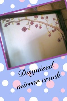 Idea for how to disguise a crack in a Mirror. Broken Mirror Diy, Diy Mirror, Design Crafts, Diy Crafts, Household Cleaners, Room Decorations, New Room, Furniture Projects, Bathroom Accessories