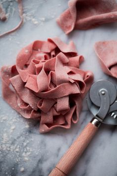 Homemade Pink Pappardelle Pasta . A simple traditional egg pasta dough made with all-purpose flour, semolina, and eggs! Made traditionally or naturally colored (pink!) with beet puree.