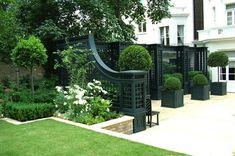 White Gardens, Small Gardens, Formal Gardens, Outdoor Gardens, Landscape Architecture, Landscape Design, Boxwood Garden, Boxwood Planters, Topiary Garden