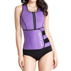 8a90c9bb9fb Shymay Womens Sauna Vest Weight Loss Belly Fat Burner Zip Neoprene Body  Shaper Purple Tag Size L US Size XSmall    Read more at the image link.