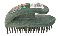 Wooster Brush 1818 Ergo Wire Scrubber by Wooster Brush. $10.29. From the Manufacturer                Removes flaking paint, rust, dirt and scale. Curved, sander-style handle ergonomically fits the palm and allows users to press down more firmly when scrubbing. Made of splinter-proof polypropylene instead of wood. Staggered tufts instead of rows provide better coverage, eliminate rake marks. Use on small to large surfaces of wood, metal or masonry. This industrial-quality brus...