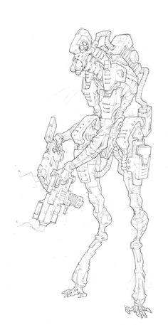 edouardguiton.com | AT-43 | Edouard Guiton Robot Concept Art, Robot Art, Robots, Cyberpunk, Character Drawing, Character Design, Epic Drawings, Mechanical Art, Tech Art