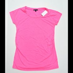 GAP Maternity Neon Pink Ruched Tee XS New with tags GAP Maternity neon pink tee shirt with scoop-neck and ruched sides. Love the bright fun color of this top! GAP Tops Tees - Short Sleeve