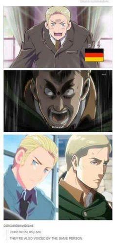 Uhhh... actually no.  Germany is voiced by Hiroki Yasumoto (seiyuu) and Patrick Seitz (english) while Daisuke Ono (seiyuu) and J. Michael Tatum (english) voices Erwin Smith.