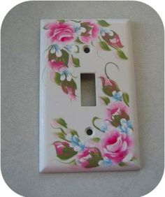Hand Painted Pink Roses Single Light Switch Plate