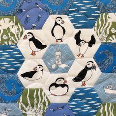 Hexie puffin patchwork. Original design fabrics from Sea Parrot. (c) Sea Parrot www.seaparrot.co.uk Patchwork Fabric, Fabric Shop, Parrot, Fabric Design, Fabrics, Snoopy, Kids Rugs, Birds, Sea