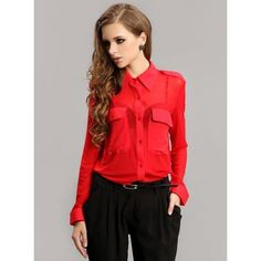 Red Vintage Perspective Sexy Chiffon Shirt$68.00 ($68) via Polyvore