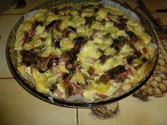 poivre, crême fraîche, champignon de Paris, pomme de terre, oignon, reblochon, sel, lardons, pâte à pizza