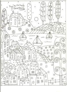 Rug Hooking Craft Paper Pattern Down By The Water Folk Art PRIMITIVE Karla G
