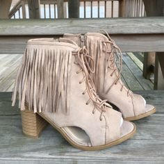 "•Fringe Peep Toe Booties• These chic ankle boots feature a peep toe silhouette/long fringe detail at ankle/side cutout design/and chunky stacked heel/finished with lightly cushioned insole and side zipper closure for easy on/off/vegan suede upper/heel height: 3.25""/shaft height: 7.25""(including heel)/top opening: 8""/new in box/price is firm/thanks for looking                          ❌No Trades❌                                                       ❌No PayPal❌ Shoes Ankle Boots & Booties"