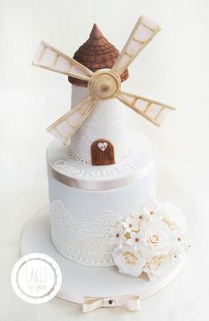 Windmill  Engagement Cake by Cakes by Lynzie