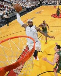 LeBron James #6 of the Miami Heat goes up for a dunk against the Milwaukee Bucks in Game One of the Eastern Conference Quarterfinals during the 2013 NBA Playoffs http://www.fansedge.com/LeBron-James-Miami-Heat-Quarterfinals-Game-1-4212013-_1390560622_PD.html?social=pinterest_pfid77-34831
