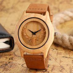 2017 Men's Deer Head Elk Bamboo Wood Watch Brown Genuine Leather Strap Fashion Casual Sport Cool Wooden Quartz Wristwatches