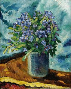 Louis Valtat. -  (1869 -1952) French Fauvist Painter Bouquet of Forget-Me-Nots