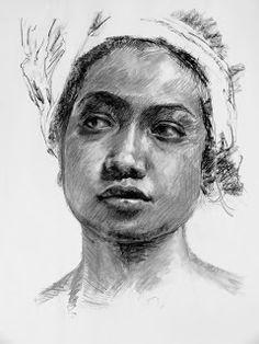 Young Balinese Woman   2013 Charcoal on newsprint #RosKochArt