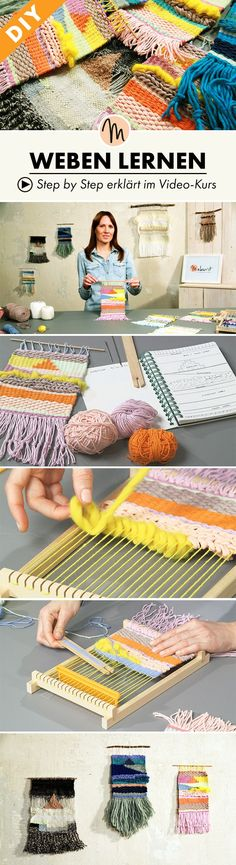 Webe deinen eigenen Webteppich und lerne Grundtechniken, um Muster und Farben zu… Create your own weave and learn basic techniques to unite patterns and colors – Step by Step explained in the video course via Makerist. Cactus Wall Art, Cactus Print, Crochet With Cotton Yarn, Crochet Yarn, Crochet Hat For Beginners, Printable Christmas Cards, Weaving Textiles, Diy Carpet, Macrame Patterns