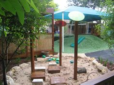 Great idea for a sand pit. Like the little stools. could use stumps for stools?