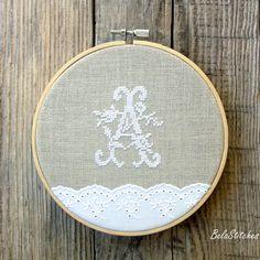 embroidery hoop art - monogram