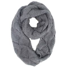 Gray Diamond Knit Plush Fuzzy Eyelash Circle Scarf ($20) ❤ liked on Polyvore featuring accessories, scarves, grey, knit shawl, infinity loop scarves, round scarf, knit infinity scarf and circle scarves