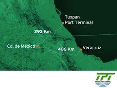 LA MEJOR TERMINAL PORTUARIA EN MÉXICO. Tuxpan Port Terminal iniciará operaciones en febrero del 2016 y tendrá una capacidad de manejar alrededor de 350,000 autos y 710,000 TEU's. Una de las ventajas competitivas de nuestra terminal es su ubicación a 293 kilómetros de distancia de la Ciudad de México, lo que significará ahorros en tiempo y costos logísticos. #tpt