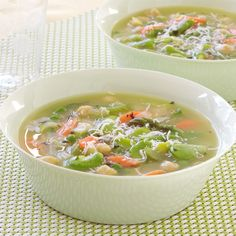 Spring Vegetable Minestrone Soup with Fava Beans and Mint