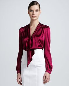 Tie-Neck Satin Blouse by Burberry London at Bergdorf Goodman.